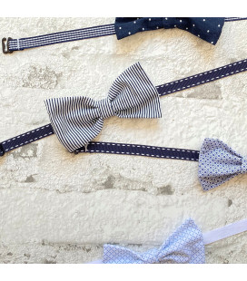 Navy Striped Bowtie