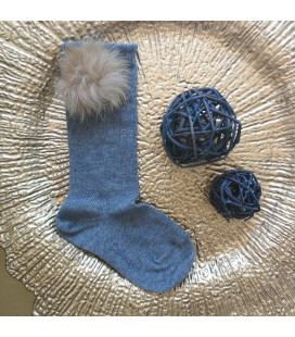 Grey Pompom Knee High Socks