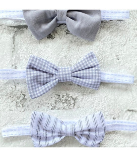 Check Grey Bow Tie